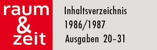 Inhaltsverzeichnis 1986/1987