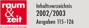 Inhaltsverzeichnis 2002/2003