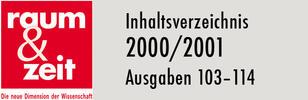 Inhaltsverzeichnis 2000/2001